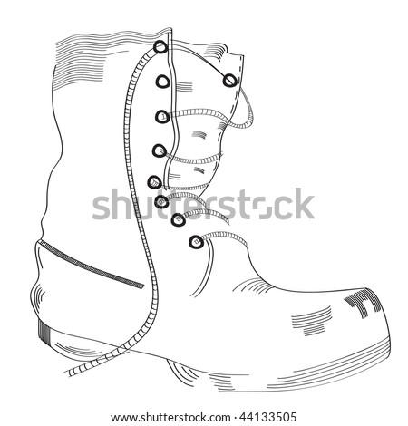Boot sketch - stock vector