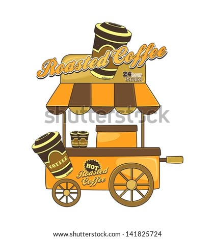 booth stand coffee - stock vector