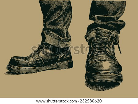 boots and jeans. engraving style. vector illustration. - stock vector