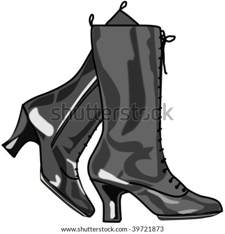 boots for woman with laces - stock vector