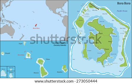 Bora Bora is an island in the Leeward group of the Society Islands of French Polynesia, an overseas collectivity of France in the Pacific Ocean - stock vector