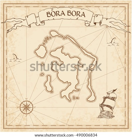 Treasure Island Vector Map Hand Drawn Stock Vector - Us parchment map