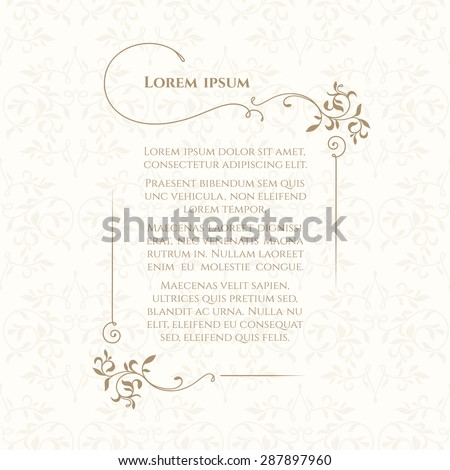 Border and classic seamless pattern. Template for greeting cards, invitations, menus, labels. Graphic design page. - stock vector