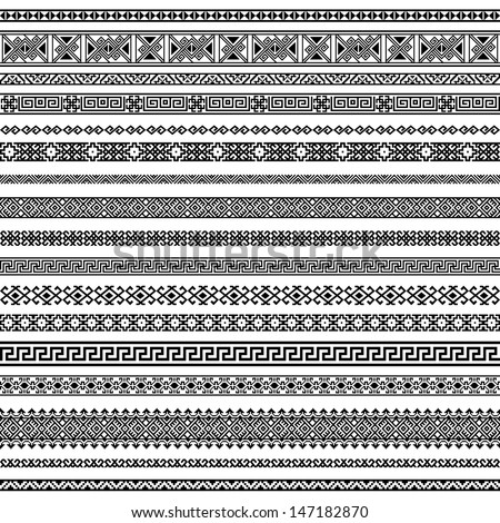 Border decoration elements patterns in black and white colors. Most popular ethnic border in one mega pack set collections. Vector illustrations.Could be used as divider, frame, etc - stock vector
