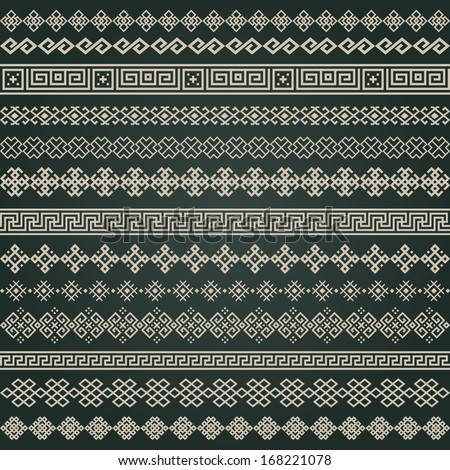 Border decoration elements patterns in black and white colors. Most popular ethnic border in one mega pack set collections. Vector illustrations. Could be used as divider, frame, etc  - stock vector