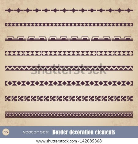 Border decoration elements set 15 - stock vector