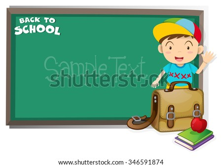 Border design with back to school theme illustration - stock vector