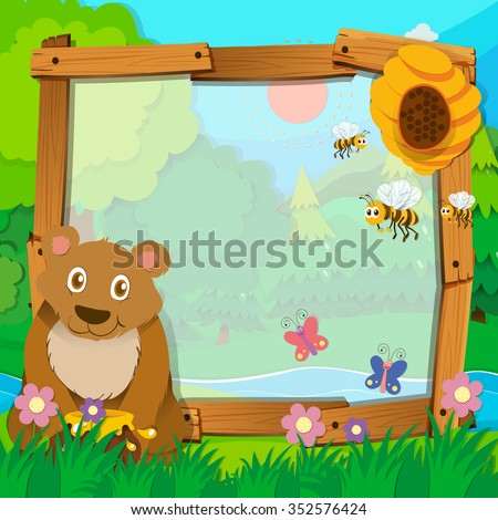 Border design with bear and bees illustration