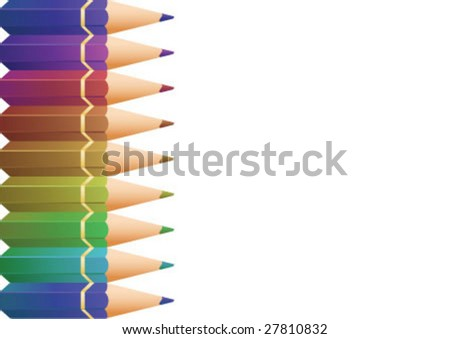 Border design with color pencils - stock vector