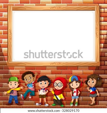 Border Design With Many Children Illustration