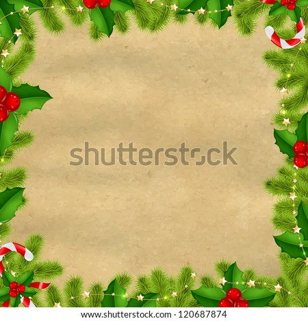 Border Fir-tree Branches With Gold Stars And Old Papper Isolated On White Background With Gradient Mesh, Vector Illustration - stock vector