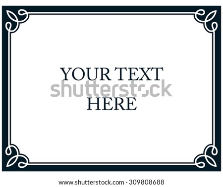 Border frame line deco vector label simple horizontal - stock vector