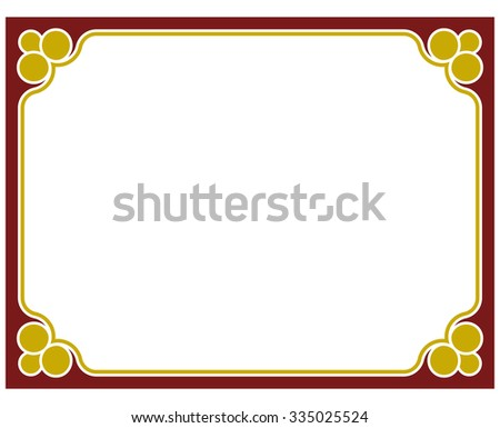 Border frame red deco plaque. Vector art simple line corner