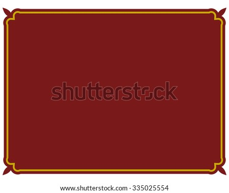 Border frame red deco plaque. Vector art simple line corner - stock vector