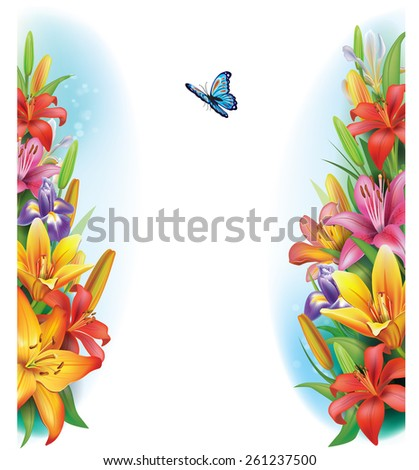 Border from flowers - stock vector