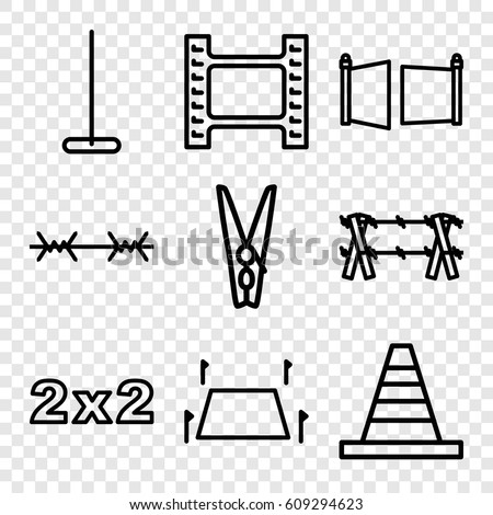 stock vector border icons set set of border outline icons such as mop cone cloth pin land territory gate 609294623 5 pin on off switch 5 find image about wiring diagram, schematic,3 5mm Plug Wiring Diagram