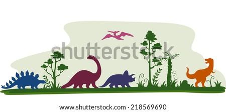 Border Illustration Featuring the Silhouettes of Dinosaur - stock vector