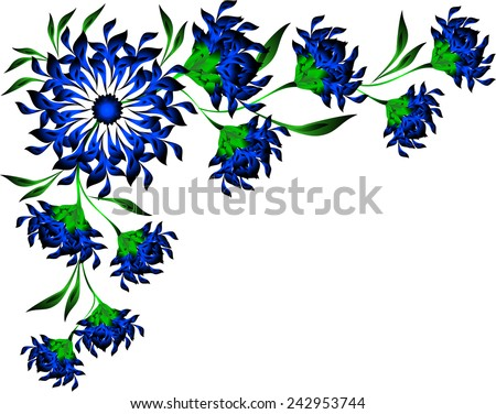 Border of blue flowers and leaves. EPS10 vector illustration. - stock vector