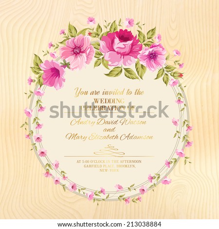 Border of flowers in vintage style over wooden plane. Vector illustration. - stock vector
