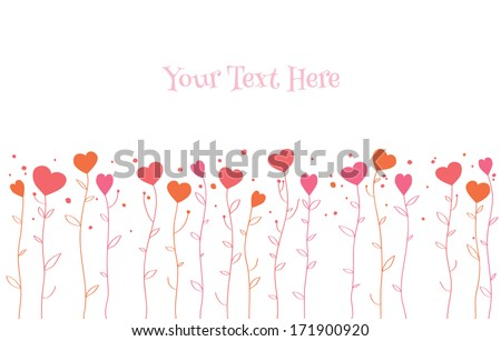 Border of hearts growing on stalks. Simple Valentine's day design. - stock vector