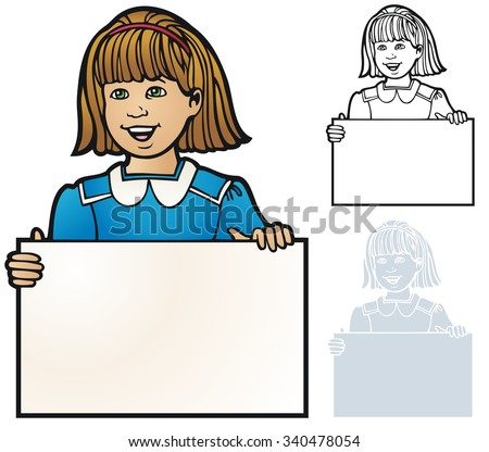 Border or frame of a young girl holding a sign - stock vector