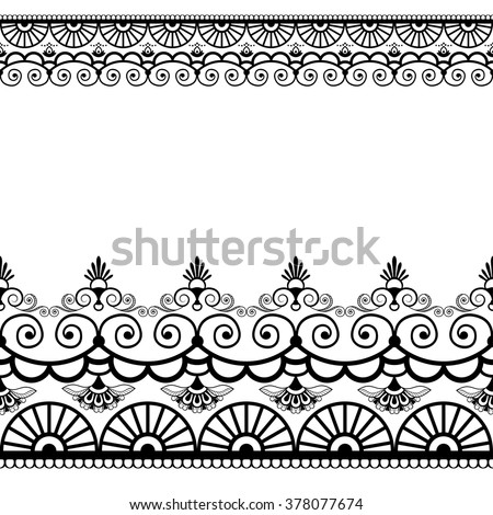 Border pattern elements with flowers and lace lines in Indian mehndi style isolated on white background. Vector illustration