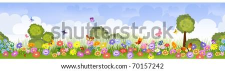 border seamless flower fields - stock vector