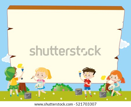 border template with kids painting illustration - Painting Pics For Kids