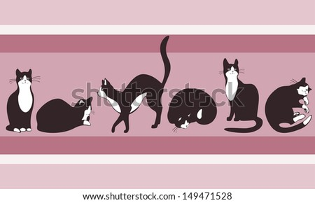 border to wallpaper cat walking on the roof of the house. pastel colors