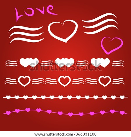 Border vector heart. Symbol valentines day.