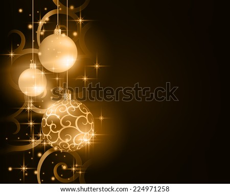Border with golden, desaturated Christmas balls hanging over a scroll background pattern with stars and light effects on a dark brown background. Vivid and festive.  - stock vector