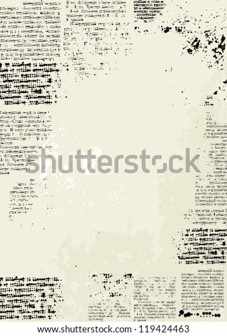 grunge frame vertical design imitation newspaper