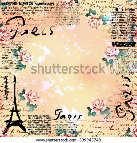 Bordered Background. Grunge vintage frame Paris in scrapbook style. - stock vector