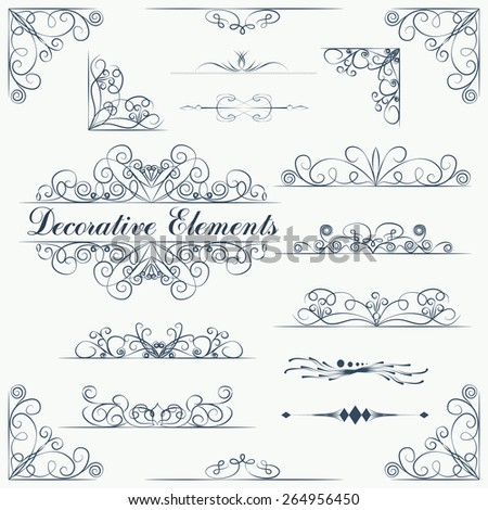 Borders and dividers decorative vignette elements set - stock vector