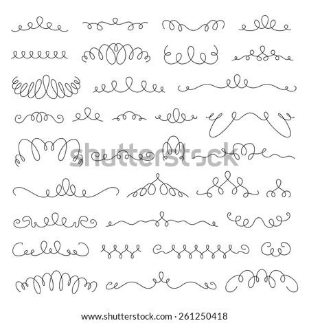 Borders and dividers vignette elements set. Vintage retro calligraphic design. - stock vector