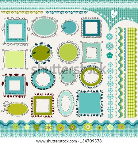 borders and doodled frames pack - stock vector