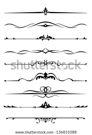 Borders and monograms set in vintage style for design. Jpeg (bitmap) version also available in gallery - stock vector
