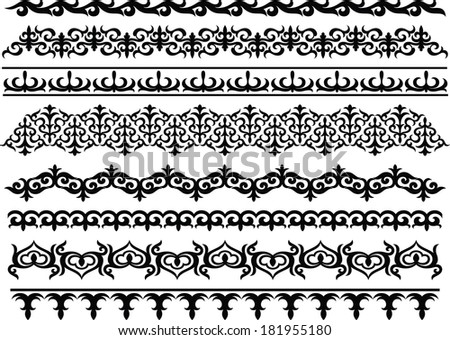 Borders, eastern ornament - stock vector