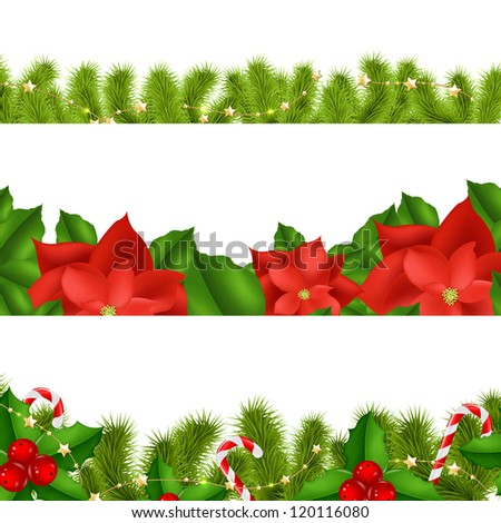 Borders Fir-tree Branches With Holly Berry Set With Gradient Mesh, Vector Illustration - stock vector