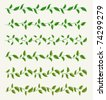 Borders from green leaves set. Vector background Eps 10. - stock vector