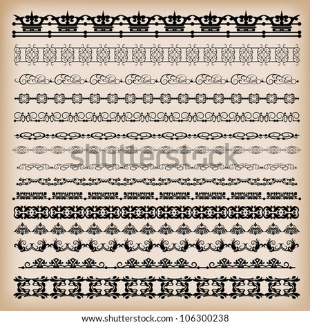 Borders.  Set of  for design. Calligraphic design elements. Retro - stock vector