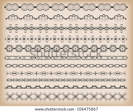 Borders. Set of for design. Calligraphic design elements. Retro