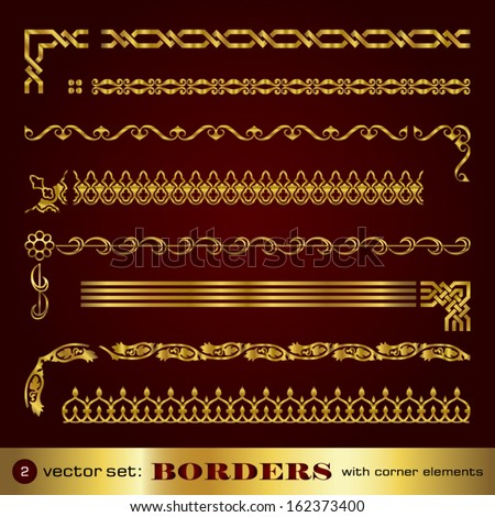 Borders with corner elements in gold - set 2 - stock vector