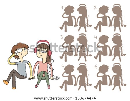 Boring Couple Shadows Visual Game. Task: find the right shadow image! Answer: No. 6. Illustration is in eps8 vector mode! - stock vector