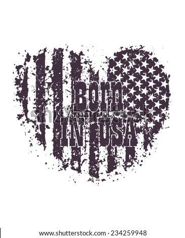 Born in usa grunge heart blue vector illustration, eps10, easy to edit - stock vector