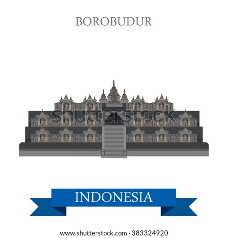 Borobudur Barabudur Buddhist temple in Indonesia. Flat cartoon style historic sight showplace attraction web site vector illustration. World countries vacation travel sightseeing Asia collection - stock vector