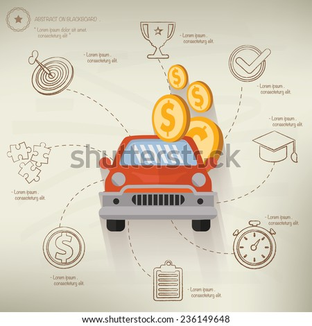 Borrow money,info graphic design on old paper background,clean vector - stock vector
