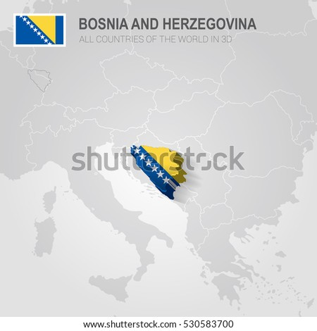 Bosnia Herzegovina Neighboring Countries Europe Administrative Stock