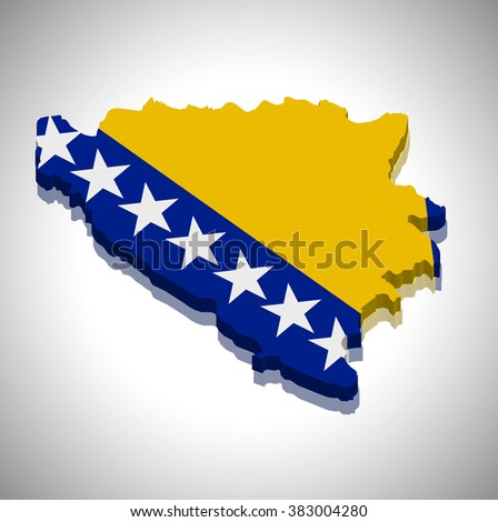 Bosnia and Herzegovina - 3D map and flag - stock vector