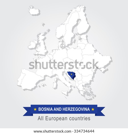 Bosnia and Herzegovina. Europe administrative map. - stock vector